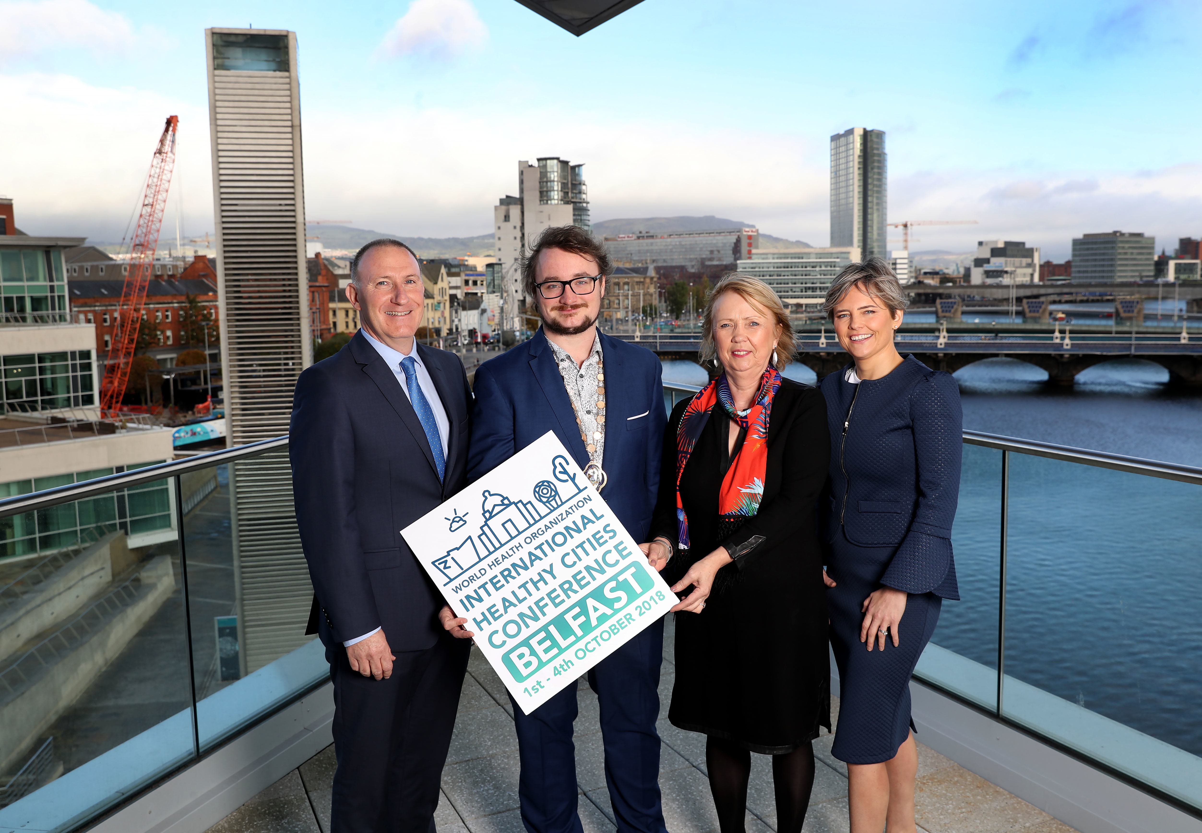 Representatives from Belfast welcome the World Healthy Cities Conference to the city