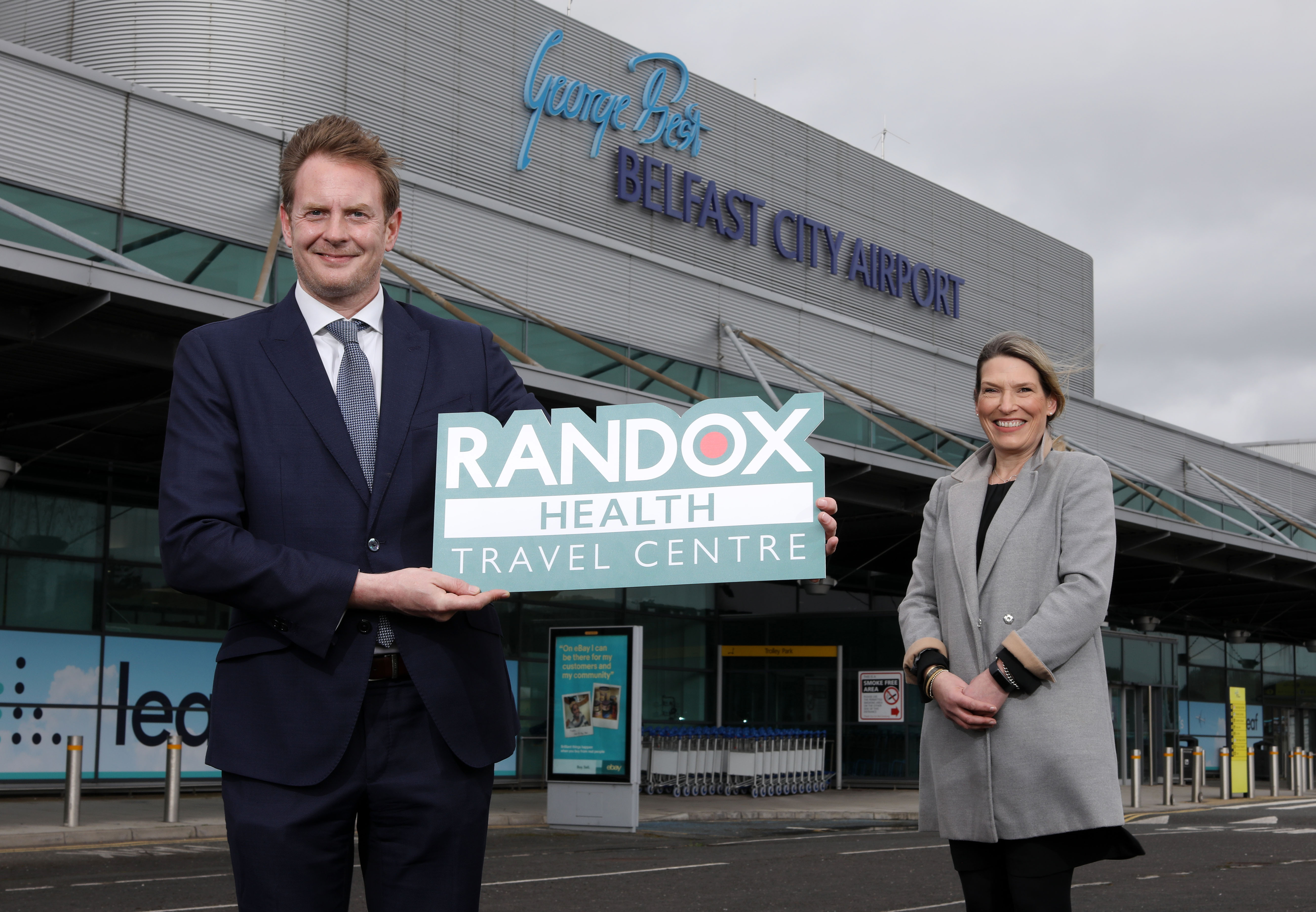 Judith Davis Airport Operations Manager is joined by David Adamson of Randox to announce new covid 19 test facilities at Belfast City Airport