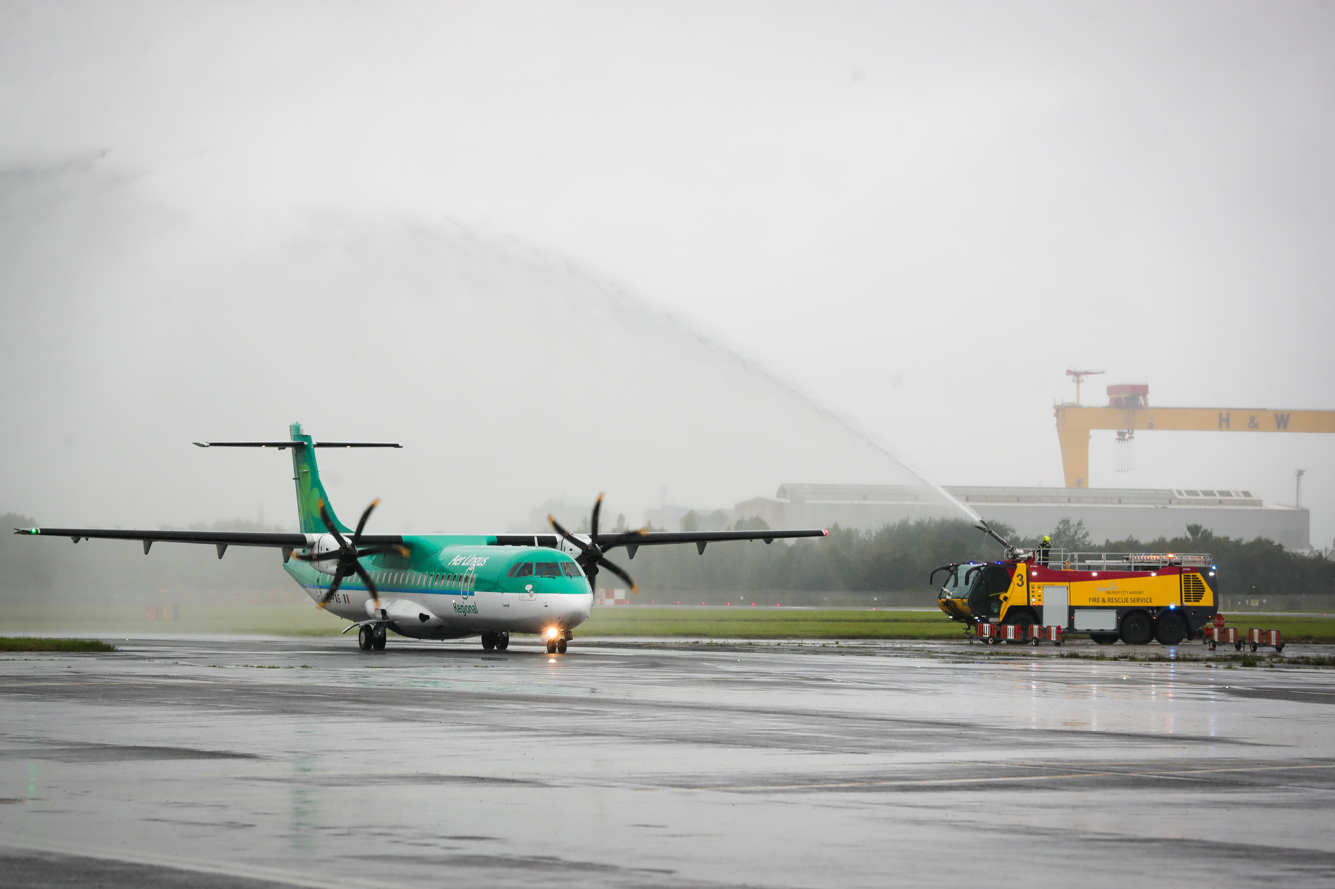Water Cannon Salute Celebrates Start of Aer Lingus Regional Service From Belfast City Aiport to Edinburgh