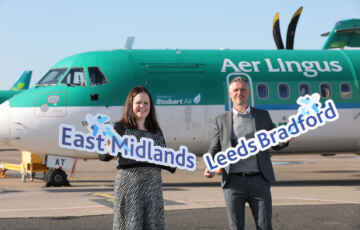 Ellie Mc Gimpsey joined by Ciaran Doherty to launch flights to East Midlands and Leeds Bradford