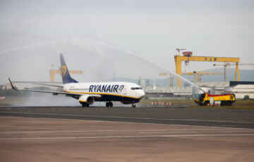Ryanair Welcomed Back to Belfast City Airport with Water Cannon Salute